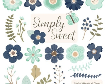 Cute Flowers Clipart in Navy & Mint - Navy and Mint Vector Flowers, Navy and Mint Clipart Flowers, Flower Graphics, Simple Flowers