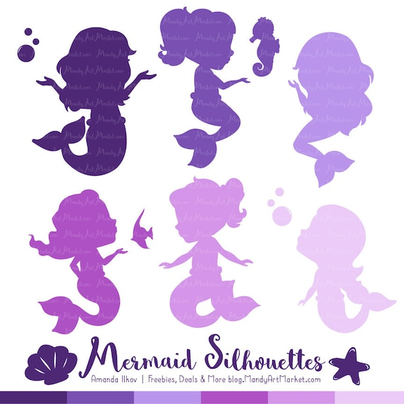 Professional Mermaid Silhouettes Clipart in Shades of Purple