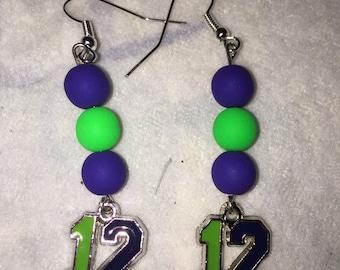 Seattle Seahawks Flourescent Green/Blue bead earrings with Green/Blue enameled 12