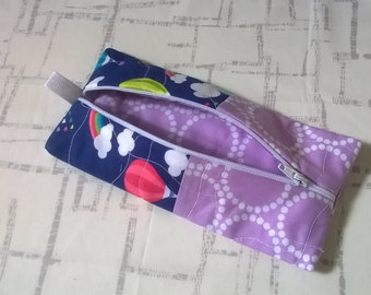 Quilted Zip Pouch - Pencil Pouch - Purse Organizer