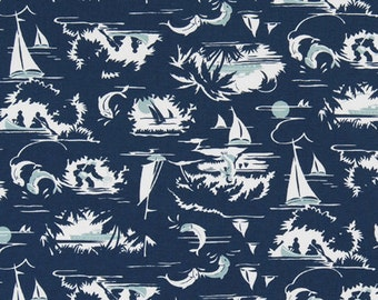 """Premier Prints Fabric-THE BAY-Nautical Print Fabric-Vintage Indigo OR Choice of Color- 54"""" wide-Fabric By The Yard"""