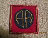 """World War I WWI US Army 82nd Infantry Division AEF """"All American""""Patch  wool gold boulion wire"""