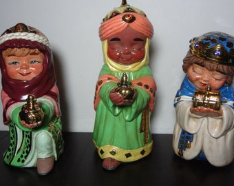 Vintage Chalkware 3 Wise Men Figurines - Christmas Nativity Figurines