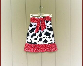 GIRLS COWGIRL SKIRT western modest skirt red skirt