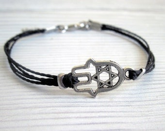 Mens Hamsa Bracelet - Men's Bracelet - Mens Black Cord Bracelet - Men's Jewelry - Bracelets For Men - Jewelry For Men - Men's Gift