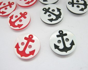 "10 Anchor Buttons 13mm (1/2"") Black or Red Sailor Buttons Boys Clothing Nautical Buttons Childrens Sewing Buttons"