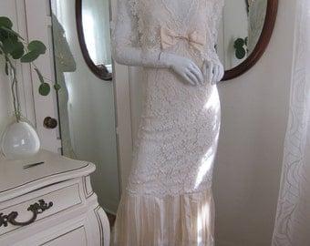 80's Gunne Sax Jessica McClintock Wedding Victorian Dress White Lace Maxi xs