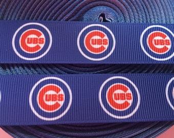 "Chicago Cubs  7/8"" Grosgrain Ribbon - 5 Yards, MLB Baseball"