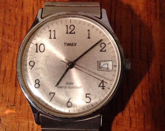 Vintage Timex Wind Up Silver Stretch Band Unisex Working Wrist Watch Woman Sport Time Keeper lcww