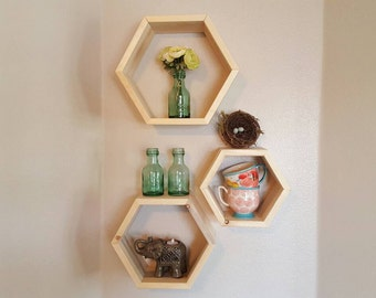 Honeycomb Hexagon Shelf Cubbies Wall Decor, Wall Shelf Box Set of Three