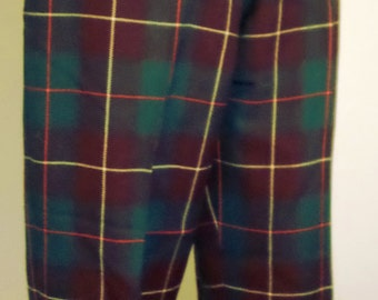 Vintage 1950's Green Tartan Wool Plaid Women's Size 12 Cuffed Trousers/ Pants W/Hidden Side Zipper & Pockets by Suzanne Sportswear Canada