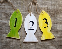Wood tags Party favors Customizable table numbers Nautical ornament Fish decor Reception numbers