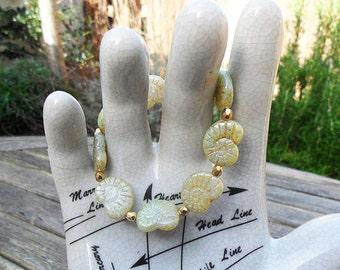 Green Ammonite bracelet, olive green luster Czech fossil beads, golden Czech beads,  fossil bracelet, stretch bracelet, boho bracelet