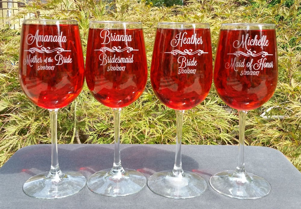 Personalized Wine Glasses Set Of 8 Bridesmaid Glass