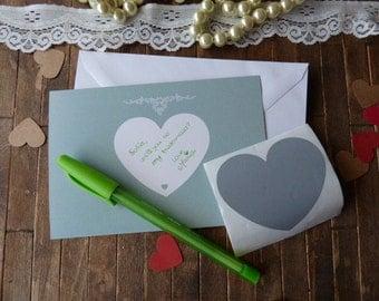 Secret Message Card Scratch Off. Custom  Scratch Off Card. Heart Card Scratch Off. Write your own message scratch off card