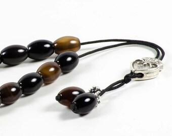 Agate Gemstone Worry Beads Greek Komboloi Oval Prayer Beads 14x10mm