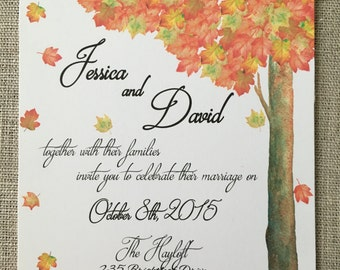 Watercolor Autumn Falling Leaves Wedding Invitation Set - Print DIY Digital CUSTOM Invitaions 3 Options Available