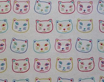 Cat Faces Neutral - Project Cotton Canvas Fabric Fat Quarter