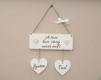 Wedding Gift Personalised . A true love story never ends. Wooden plaque. Anniversary gift. Valentine's day