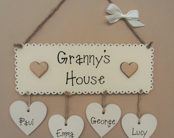 """Personalised """"Granny's House"""" Wooden Plaque. Grandchildren Plaque. Nanny, Nana, Nan or Gran options available. Mothers day gift"""