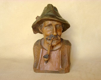 Wood Carving Man  with Smoking Pipe  #23