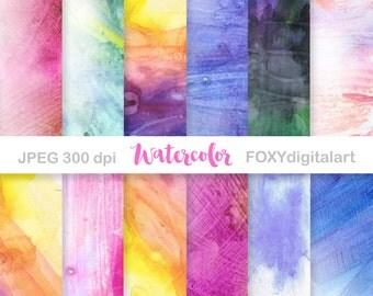 "Watercolor digital paper: ""WATERCOLOR PAPER"" Digital Scrapbooking Papers, Digital Collage, Instant Download, Web Design"