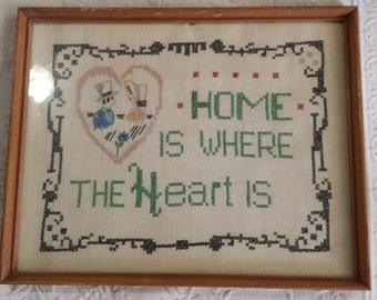 Vintage Home is Where the Heart Is embroidery