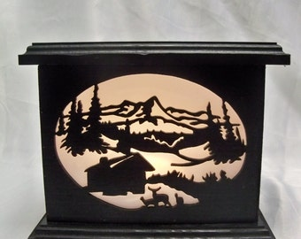 Cabin in the woods wooden lantern