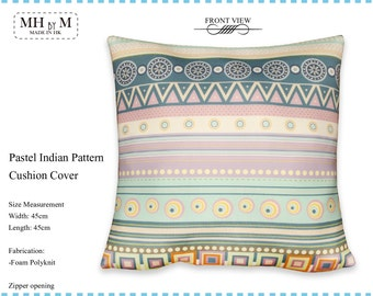 Pastel Indian Pattern Design Digital Print Cushion Cover