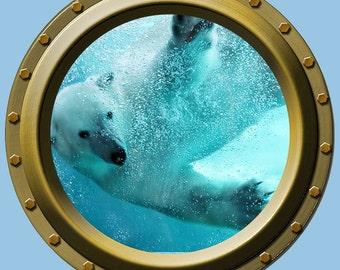 Reusable Polar Bear Underwater Porthole Wall Vinyl Fabric High Quality