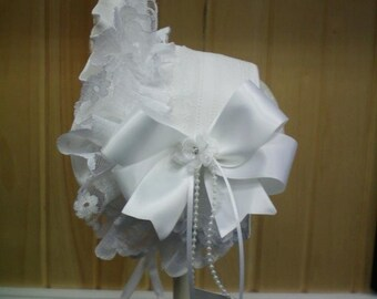 Frilly Bonnet Style Headband, Half Bonnet Frilly Lacy