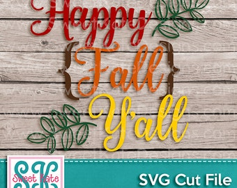 Happy Fall Y'all SVG JPG Png {Scrapbook Die Cut Heat Transfer Vinyl Cut} Thanksgiving svg Cricut svg Silhouette svg Instant Download