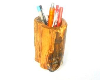 "Rustic log pencil holder Natural Teak Wood log pen holder Handmade 5""X4"""
