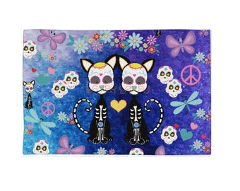 Sugar Skull Rug-Cat Sugar Skulls-Throw Rugs-Area Rug , Woven Rugs