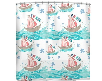 Ocean Sailboats Shower Curtain Teal Coral