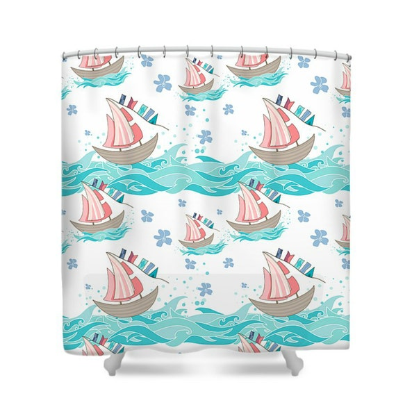 ocean sailboats shower curtain teal coral by folkandfunky