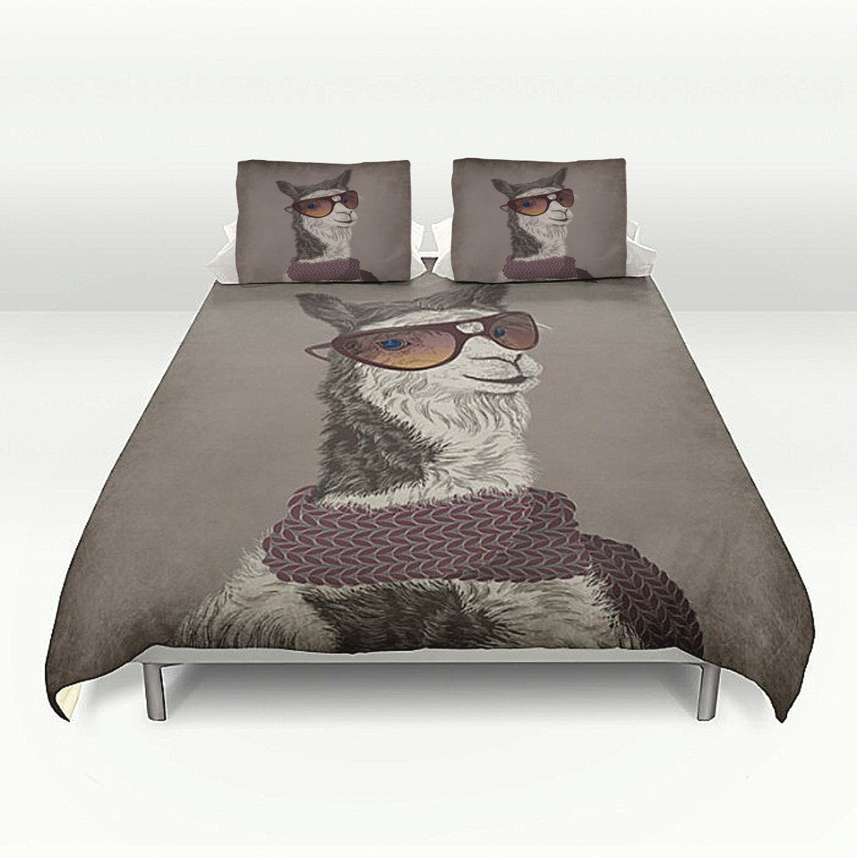 Bedding Hipster Llama Duvet Cover Set Soft Brown Or Gray