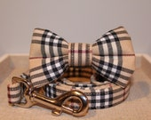 Cream Plaid Collar with optional Bow Tie
