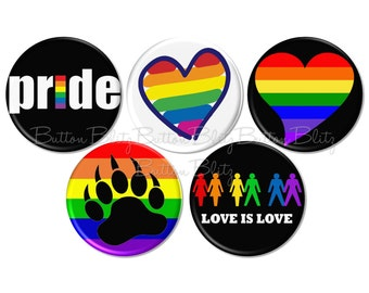 LGBT Pins, Gay Pride Pins, Support the Gay and Lesbian Community Awareness Button, Gay Pride Week Buttons, Magnet Option Available - BB2399