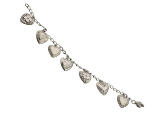 sterling silver puffy hearts charm bracelet