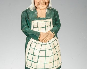 """Sweden carved wood Trygg? standing woman figure 5 1/8"""""""