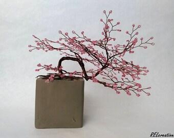 Cherry Blossom Bonsai Wire Tree Sculpture