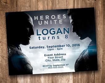 Batman v Superman Party Invitation *Personalized Digital Printable*