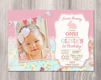 Easter birthday invitation, Bunny birthday invitation, Bunny first birthday invitation, easter invitation,digital, printable invitation