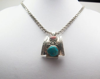 Sterling silver, Navajo, pendant with turquoise and red coral stones