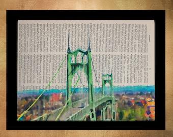 Portland Dictionary Art Print St Johns Bridge Oregon Wall Art Vintage Paper Fine Art Print Gift Ideas Home Decor da1133