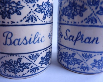 2 little vintage french blue and white storage jars, wooden tops