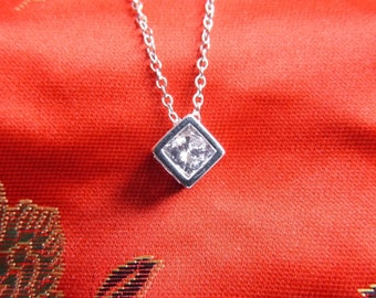 Sterling Silver Cubic Zirconia Cube Pendant & Chain