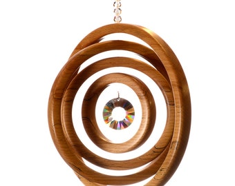 Suncatcher Irish Beech 4 Ring Concentric Circles with Asfour or Swarovski Window Hanging Rainbow Maker