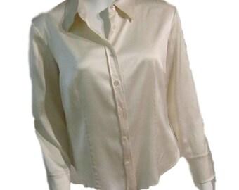 DKNY White Silk Buttondown Blouse - Size 12